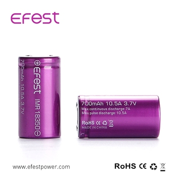 100% factory price authentic efest battery IMR 18350 battery 3.7 volt 18350 IMR battery 700mah 10.5Aamp Efest