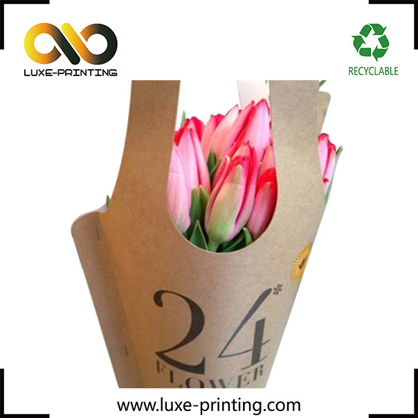 Recycled kraft paper flower sleeve custom rose flower packaging design valentine's day flower gift packing bag paper