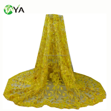 3932 yellow color Latest lace fabric beaded bridal lace fabric elegant tulle 3d lace fabric