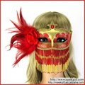 2012 Hot Wholesale design Red and Gold Feathered Maquerade Party Mask With Beads (A021C-RG)