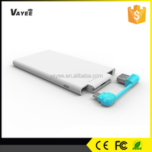 Ultra slim ABS+PC firepoof 3000mah power bank, customize logo printing accepted, power bank removable battery