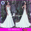 Custom Made High Quality Spaghetti Strap Beaded Satin Imperial Wedding Dress