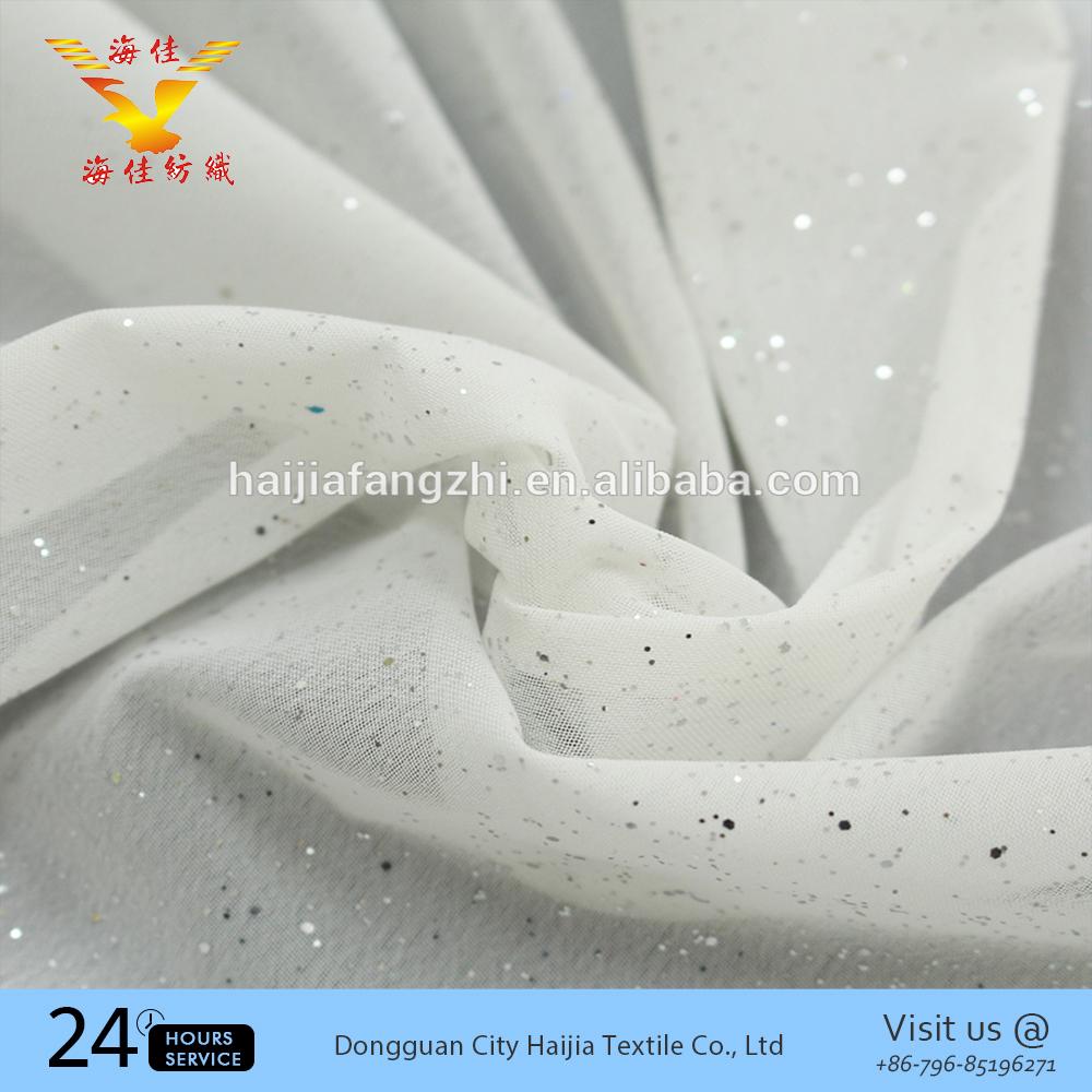 White spray glitter printed polyester silk chiffon fabric roll by the yard