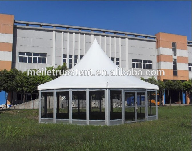 church PVC garden outdoor permanent tent glass hexagonal marquee tent black