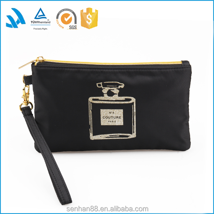 Black polyester clutch cosmetic bag with strape for mobile phone
