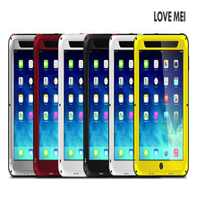 Wholesale LOVE MEI Shockproof Metal Aluminum Case For Ipad Mini Mini2 + Toughened glass Film