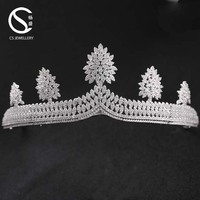 9-1298 Fashion Big Top Crystal brass Bridal Hair Jewelry Tiara and Crown Wedding Hair Accessories for Women