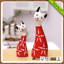 The Nordic animals Hand-painted prosperous cat 2 piece wooden crafts