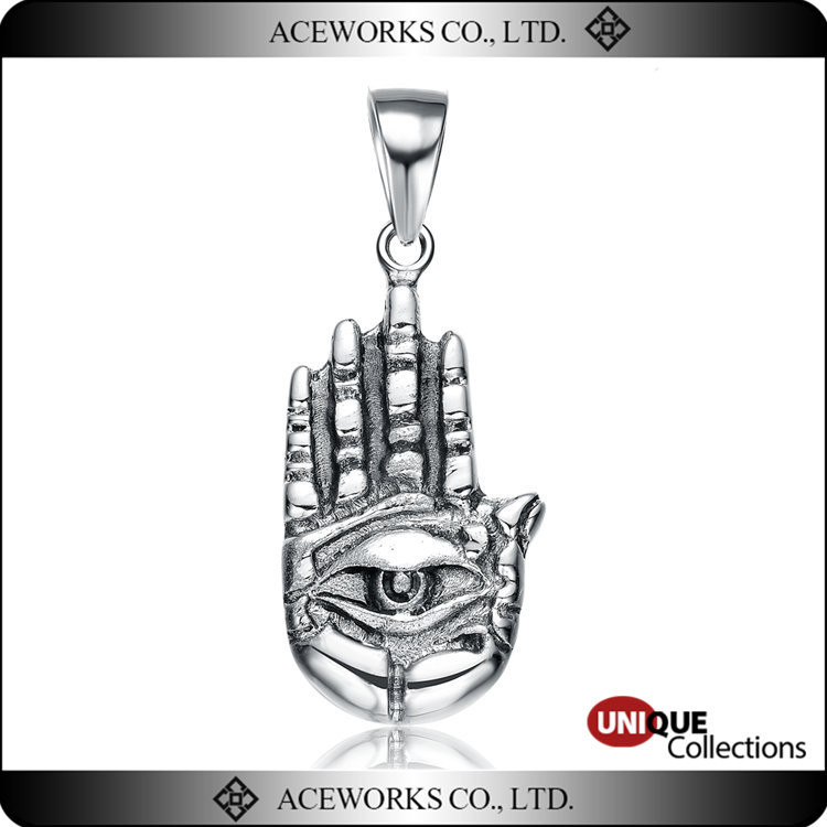 2016 Hot Sale Anitque Silver Lucky Hand Evil Eye Pendants Unique 925 Sterling Silver Evil Eye Necklace Pendants