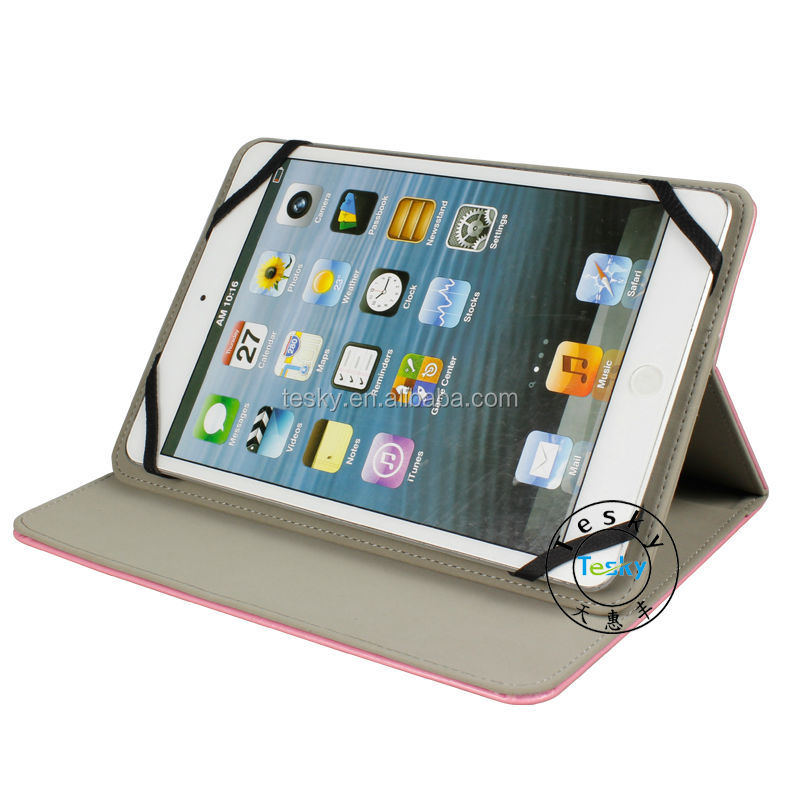 With Elastic Strap Pouch PU Leather Folio Case For Android 7 & 8 Inch Tablet PC , China Supplier