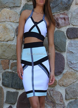 New Arrival Stylish Fashion Color Block Halter Two Pieces Bodycon Dress