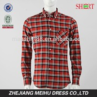 2017 New coming custom red black check flannel shirt men dress shirt design
