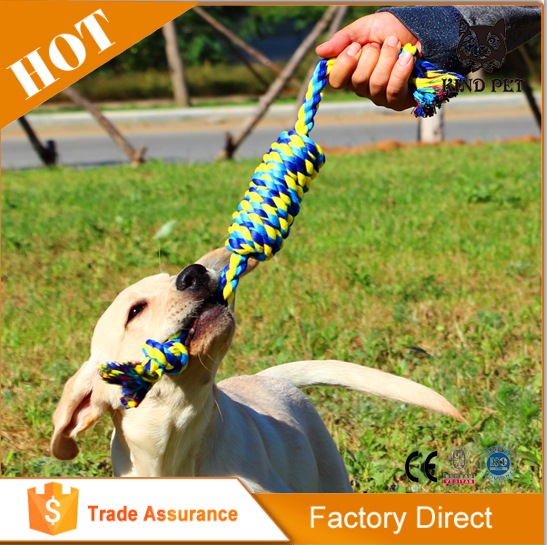 Colorful braided cotton rope private label dog toys