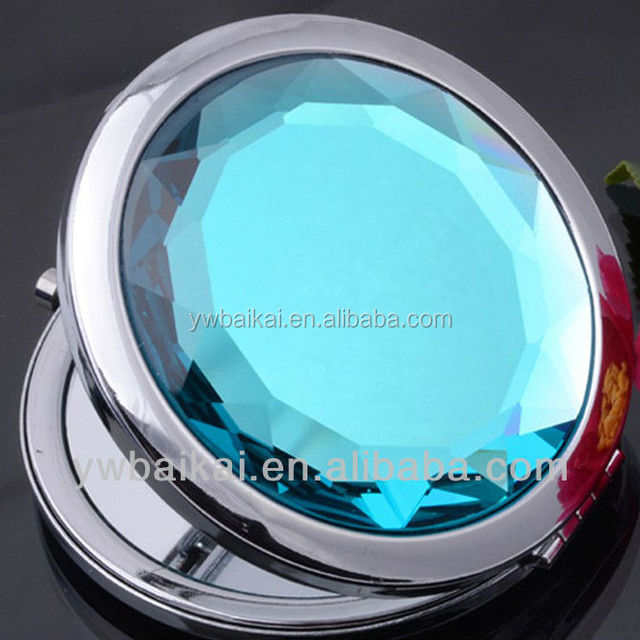 big crystal metal compact makeup mirror for christmas gifts