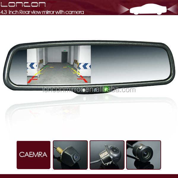 "4.3"" car rear view mirror + touch buttons & bluetooth + EC-licensed auto-dimming"