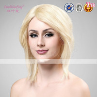 Doubleleafwig Straight 613# Light Blonde Short Style 8inch Brazilian Human Hair Machine Made Glueless Wigs Wholesale Cheap