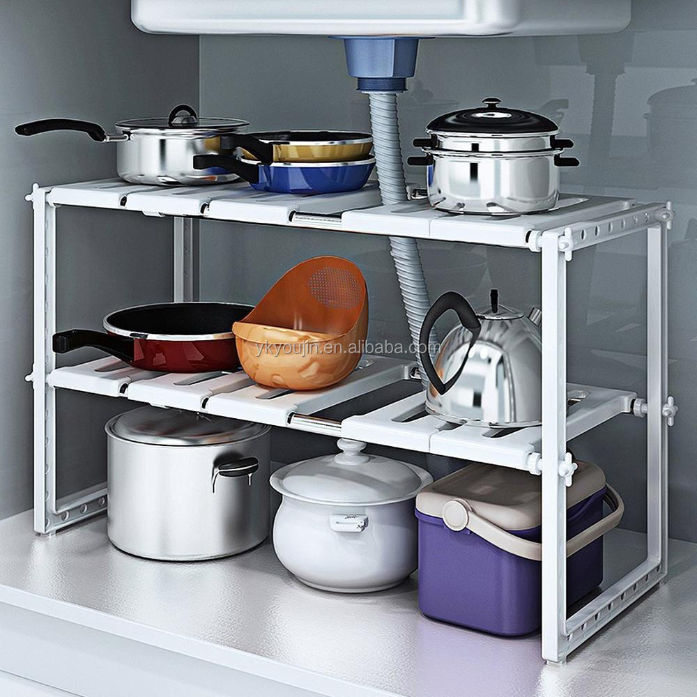 Under Sink Storage Caddy - White Adjustable Extendable Multi Purpose Kitchen Bathroom Under Sink Rack Shelf Organiser Storage Ti
