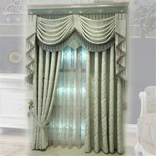 European luxury curtains and drapes Chenille fabric Jacquard Curtain with valance design