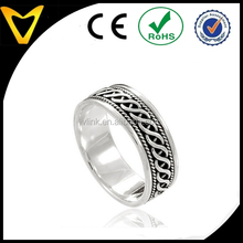 925 Sterling Silver Woven Celtic Knot Band Ring - Nickel Free silver braid chain inlay finger ring