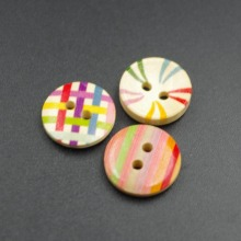 Bulk sale round multicolor pattern painted wood button