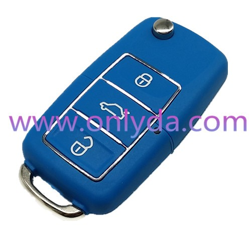 High quality VW 3 button waterproof remote key blank with red and blue 50% free shipping