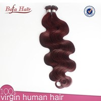 tip hair extension 99j hair weave red color indian remy human hair weaving