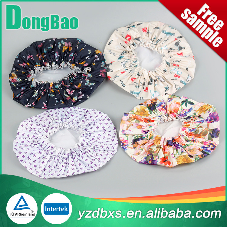 Jiangsu Factory Price Wholesale Waterproof polyester cloth+ EVA film Shower Cap