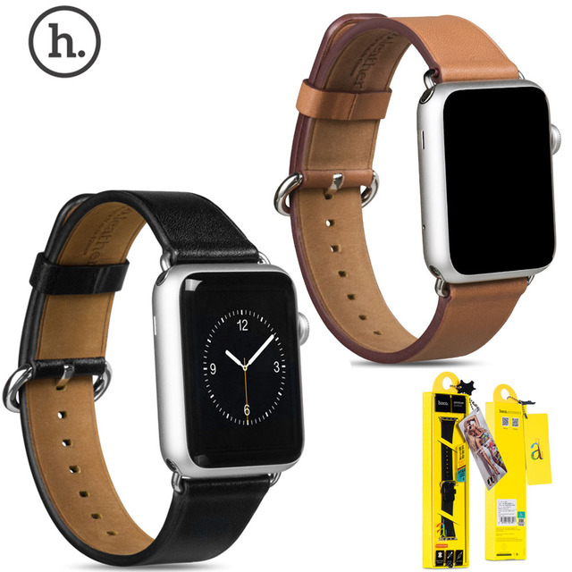 Original HOCO Cowhide Genuine Leather Strap Wartch Band For Apple Watch iWatch 42mm 38mm With Connector New in Retail Package