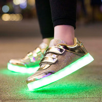 B11135A Unisex Children USB Charging sports LED Shoes