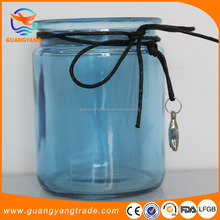 wholesale cheap machine made blue color glass candle holder with decoration star
