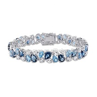 Dubai 585 gold round shaped blue topaz stone jewelry bracelet