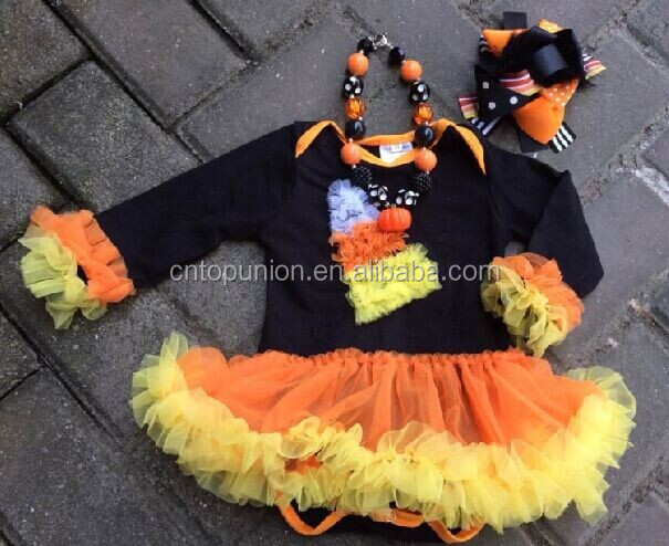 halloween baby girls candy corn romper dress romper tutu set kids clothes baby clothes halloween