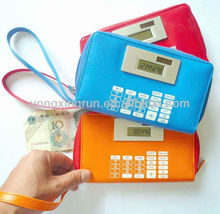school office promotional gift item dual power solar powered purse calculator