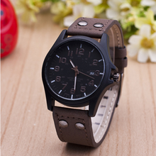 New Casual Leather Military Quartz Watch for men with Calendar