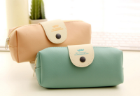 Fashion PU leather pencil case with snap closure