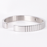 Stainless Steel Bracelet Grooved Cuff Bangle