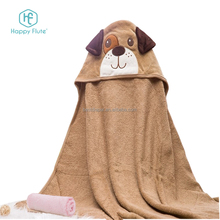 HF008 NEW style organic dog print muslin fabric bamboo hooded baby towel blanket with washcloth