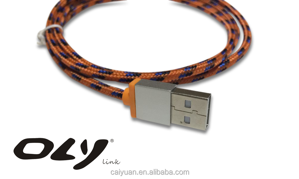 Fabric braided Mirco USB sync data cable for cell phone