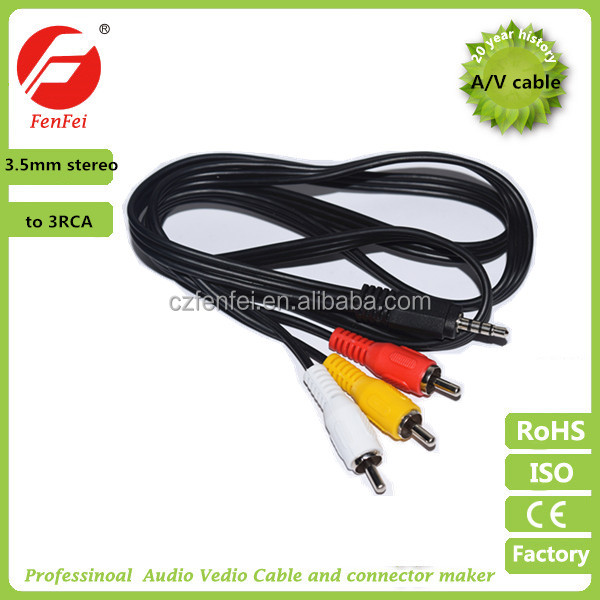 Mini 3.5mm AV to 3 RCA male Adapter Audio Video Cable Stereo Jack Adapter