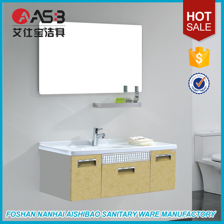 Ceramic Wash Basin Bathroom Vanity And Steel Cabinet With Laundry Tub