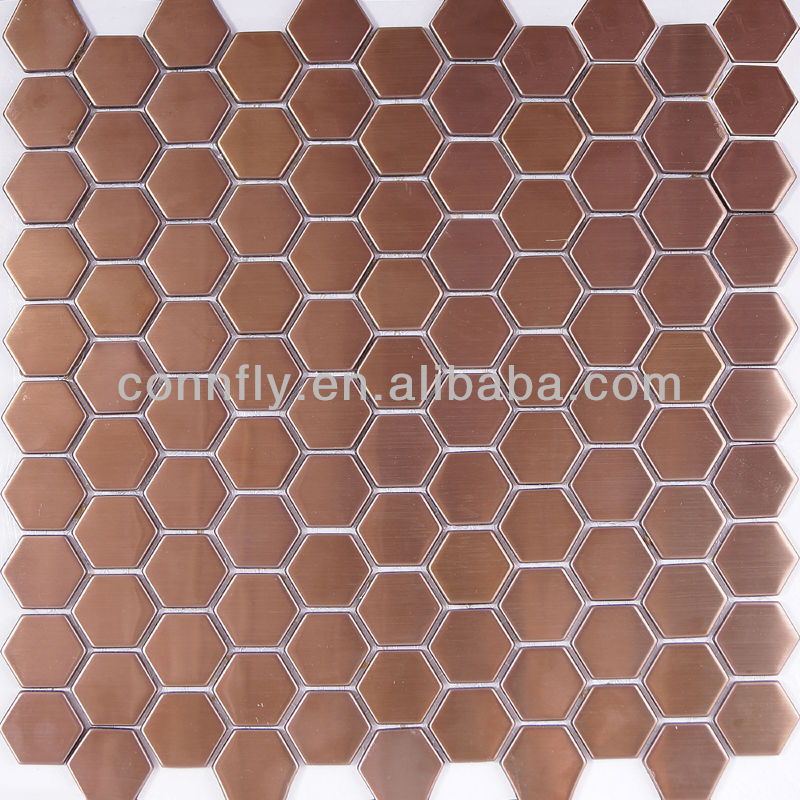 Antique Copper Brushed Stainless Steel Hexagon Mosaic Tile
