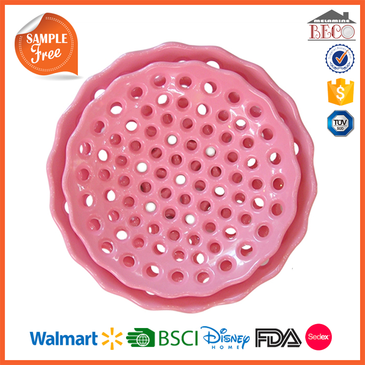 New Products Fruit Storage Melamine Plastic Tray With Holes