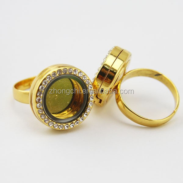 Funny zinc alloy diamond floating finger gold ring