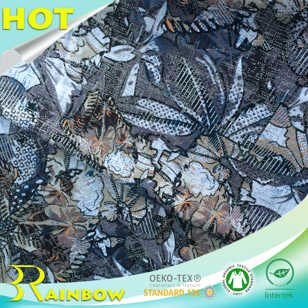 Gros Écologique Peau-amical Doux Tricoté 100% Coton Imprimé Mousseux Estampage À Chaud Feuille pour Tissu