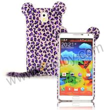 Cartoon Leopard Cat Design Furry Fur TPU Case for Samsung Galaxy Note 3 N9000 N9002 N9005 N9006 with a Tail