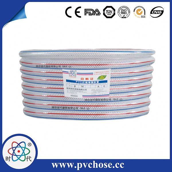 19*23mm Clear PVC Garden Hose with Red Blue Line,Thread Reinforced PVC Netting Hose Pipe,Non-toxic PVC Clear Pipe