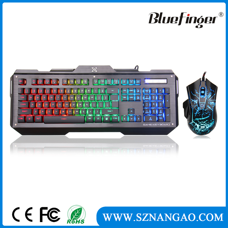 High quality Alloy rainbow backlit computer keyboard and mouse combo