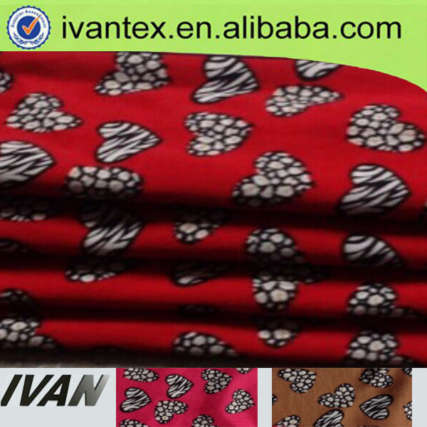 custom made cheap heart printed polyester fabric wholesale