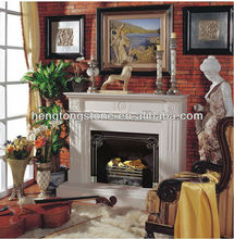 French White Marble Modern Fireplace Surround