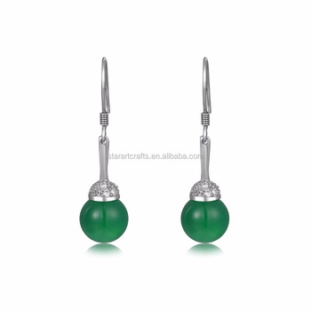 8mm green gade 925 sterling silver drop earring women gift happiness earring